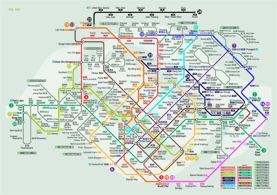 Large detailed rail map of Singapore city