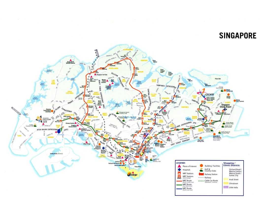 Large detailed tourist map of Singapore
