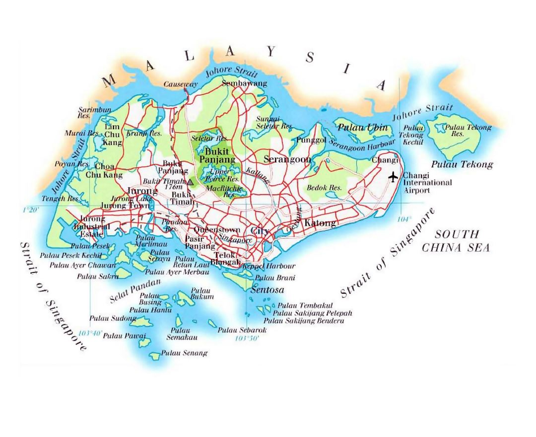 Maps of Singapore Detailed map of Singapore in English Tourist