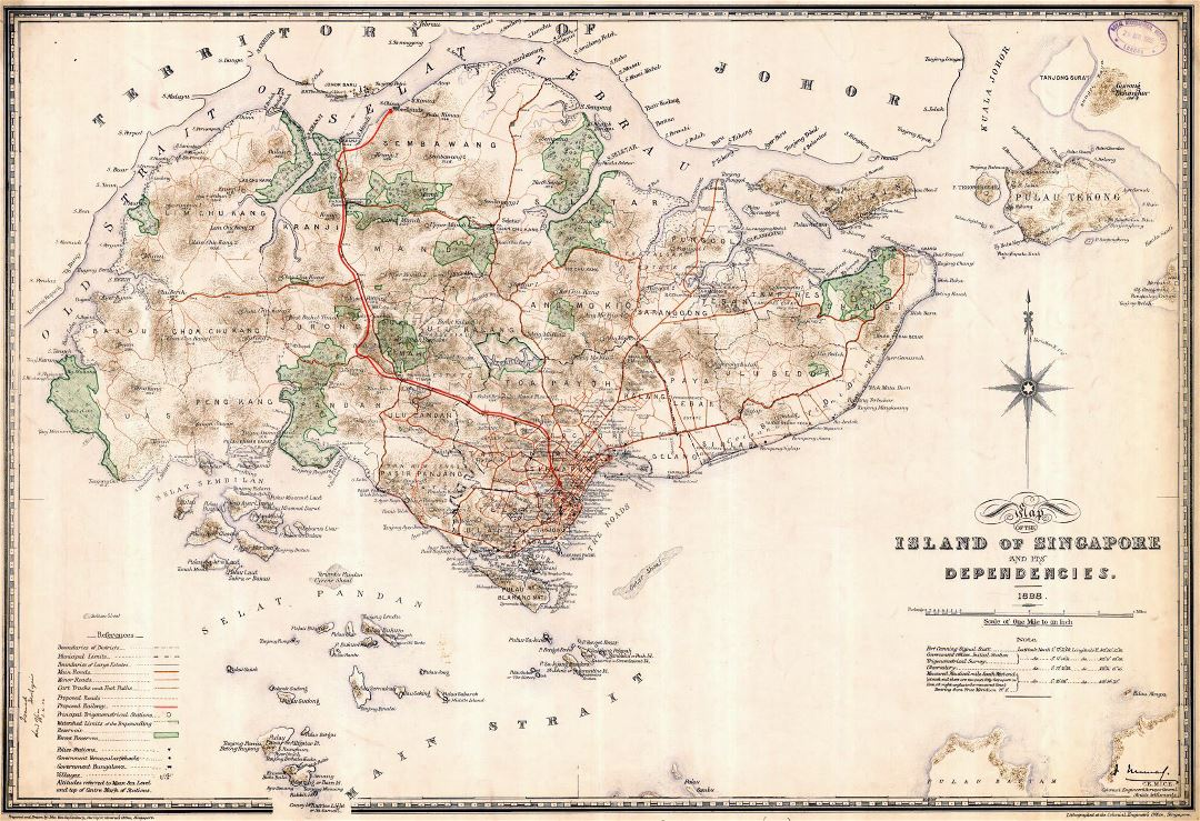 Large old map of Singapore - 1898