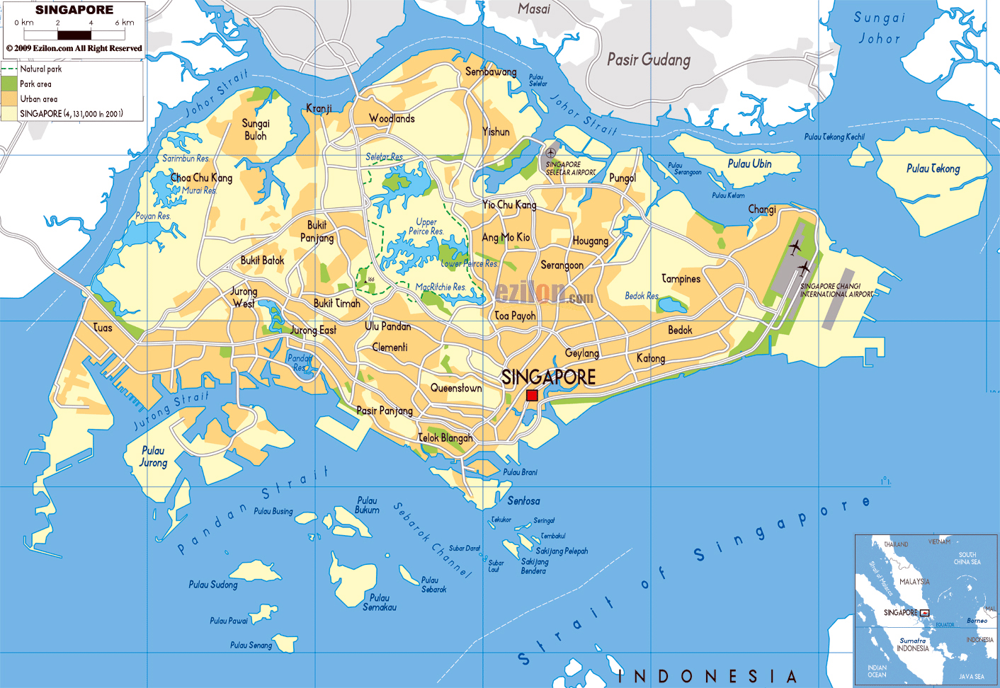 Picture of: Large Physical Map Of Singapore With Roads And Airports Singapore Asia Mapsland Maps Of The World