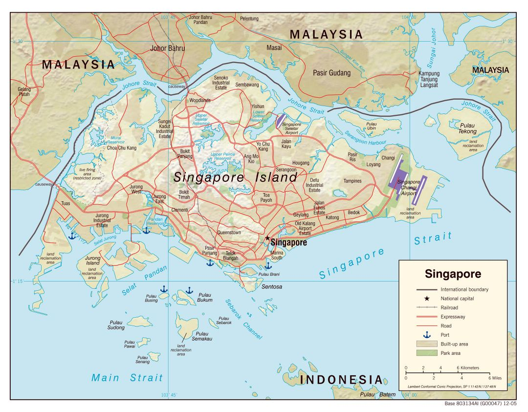 Large political map of Singapore with relief, roads, railroads, airports, seaports and other marks - 2005