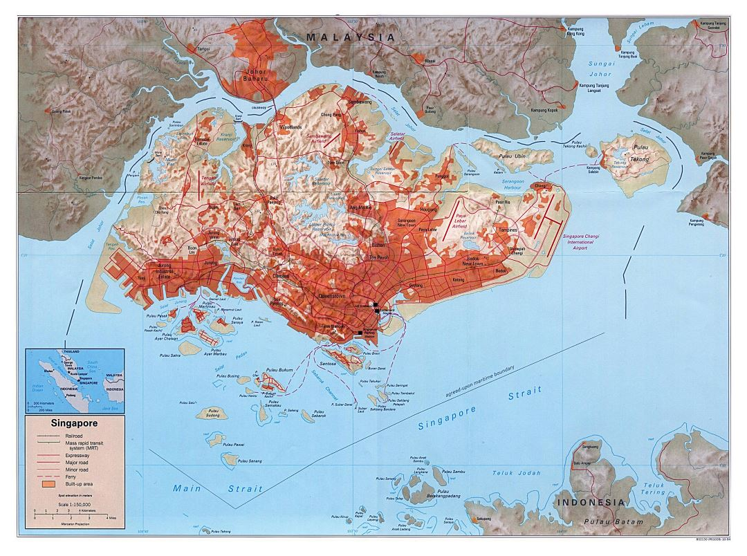 Large political map of Singapore with relief, roads, railroads and other marks - 1994