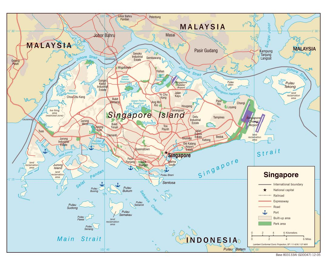 Large political map of Singapore with roads, railroads, airports, seaports and other marks - 2005