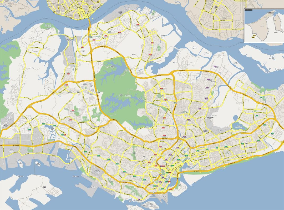 Large road map of Singapore