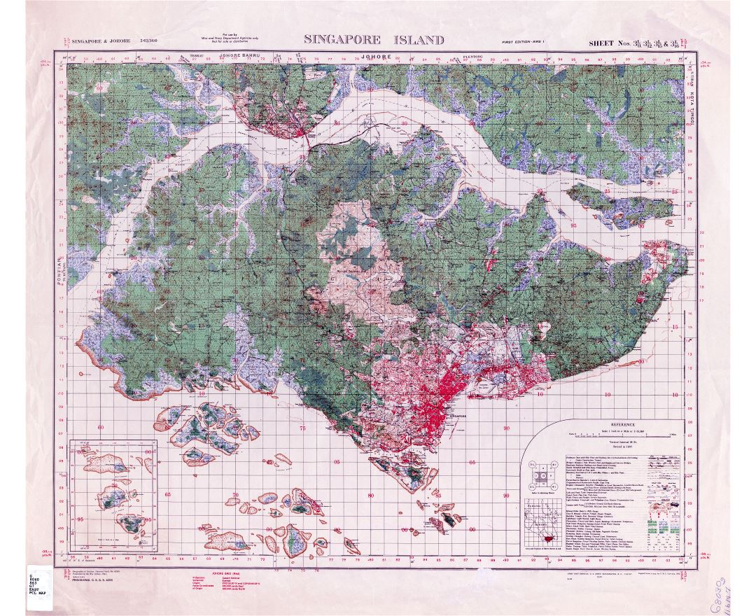 Large scale old topographical map of Singapore - 1937