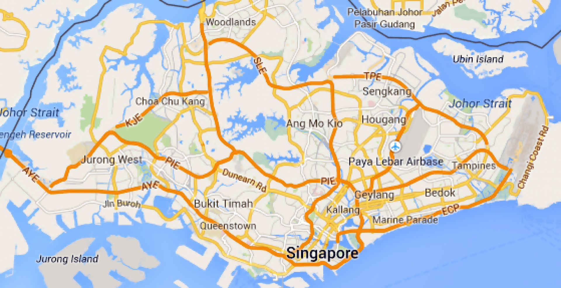 Road map of Singapore Singapore Asia Mapsland Maps of the World