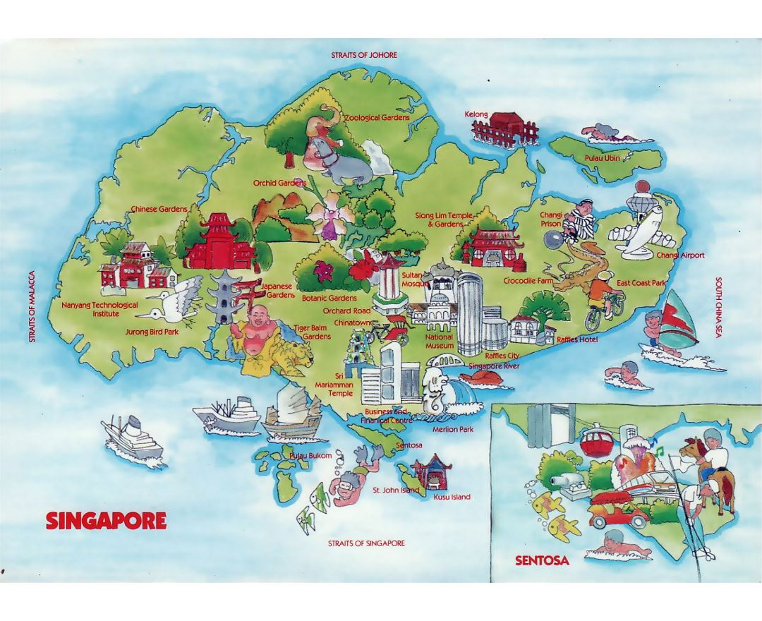 maps of singapore  detailed map of singapore in english  tourist  - travel illustrated map of singapore