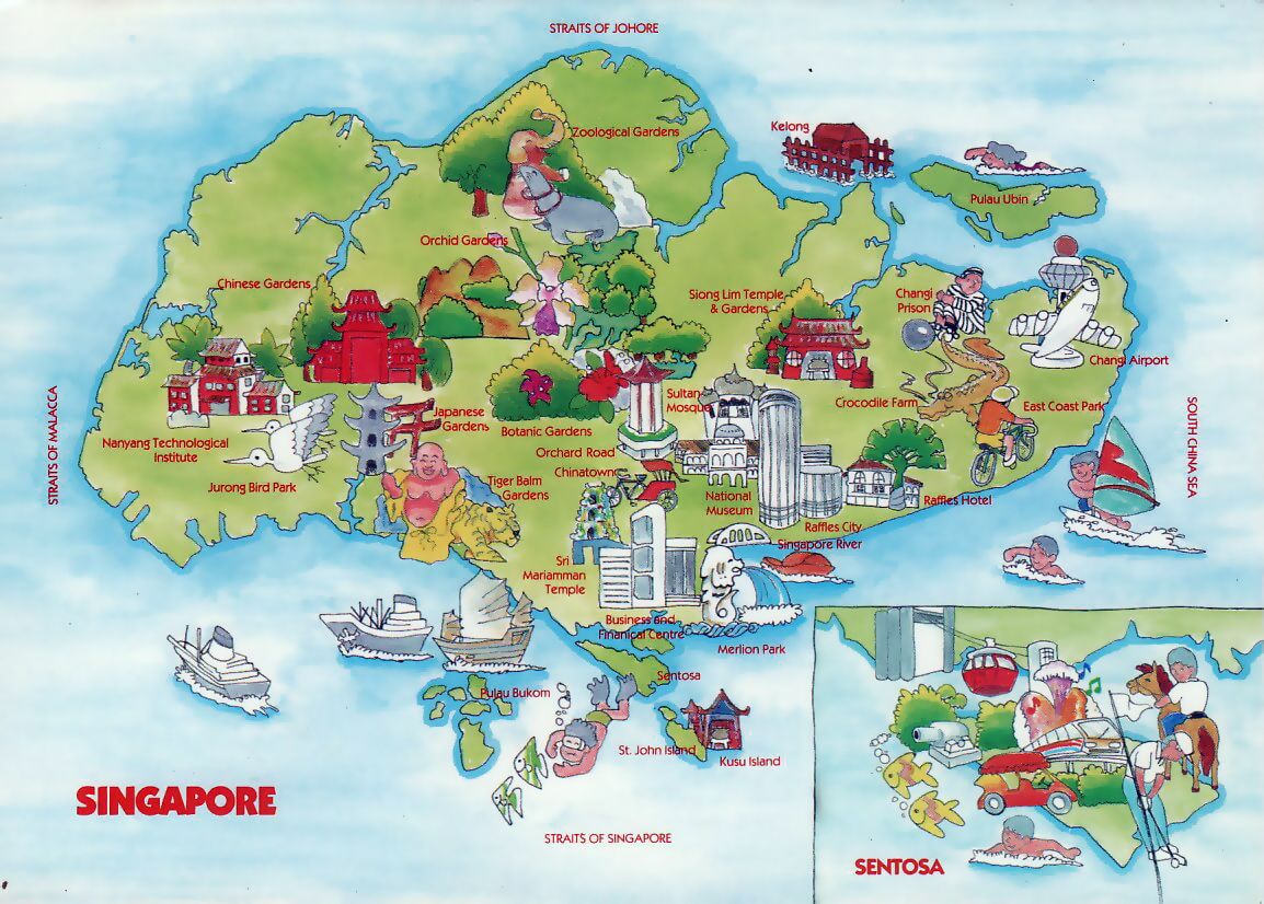 Map Of Asia Singapore.Travel Illustrated Map Of Singapore Singapore Asia Mapsland