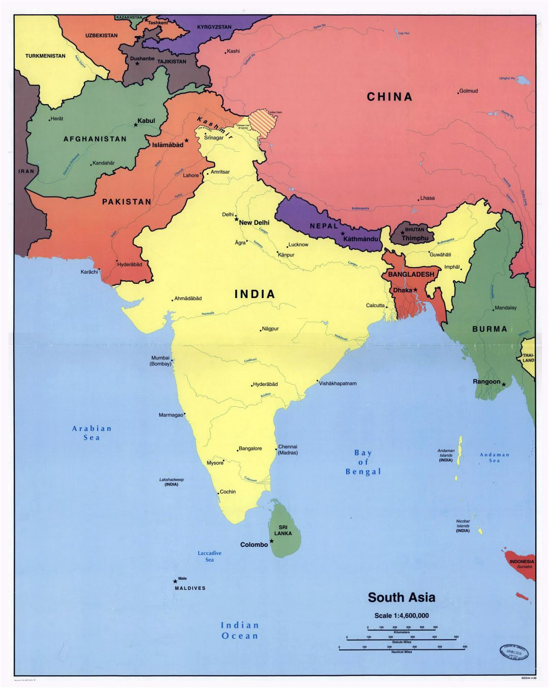 Large detailed political map of South Asia with major cities - 1998