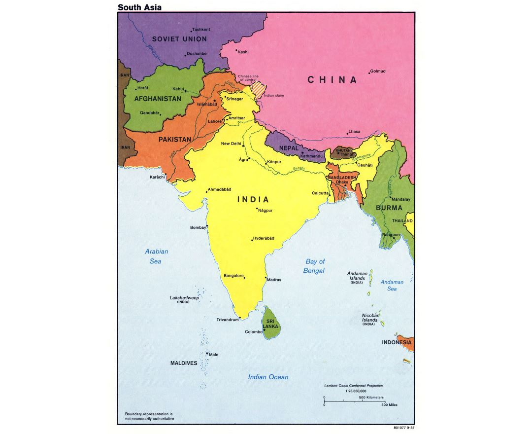 large detailed political map of south asia with major cities and capitals 1987