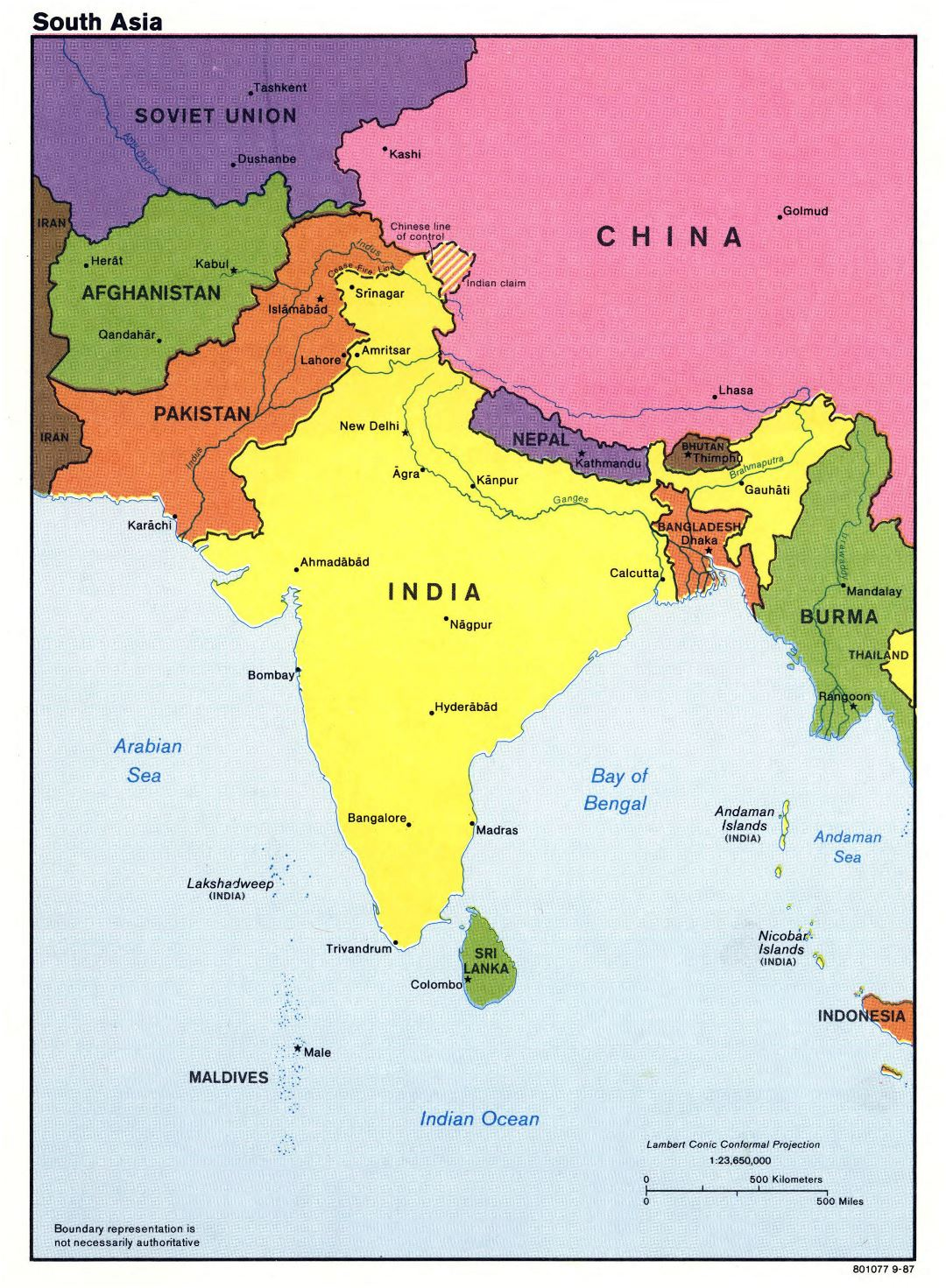 Large detailed political map of South Asia with major cities and capitals - 1987