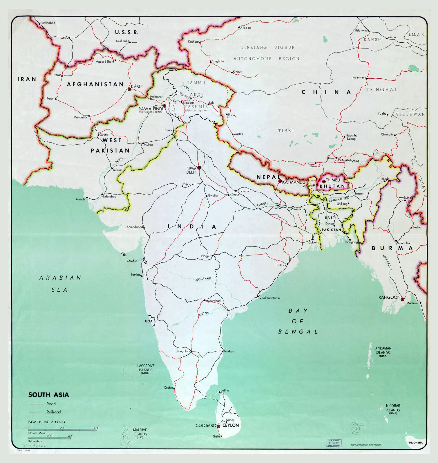 large map of south asia with major cities roads and railroads 1963