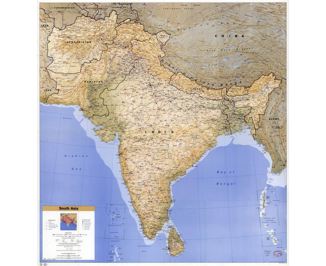 Large scale detailed political map of South Asia with relief, roads, railroads, cities, airports and seaports - 1993