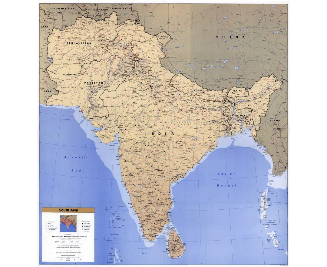 Large scale detailed political map of South Asia with roads, railroads, cities, airports and seaports - 1993