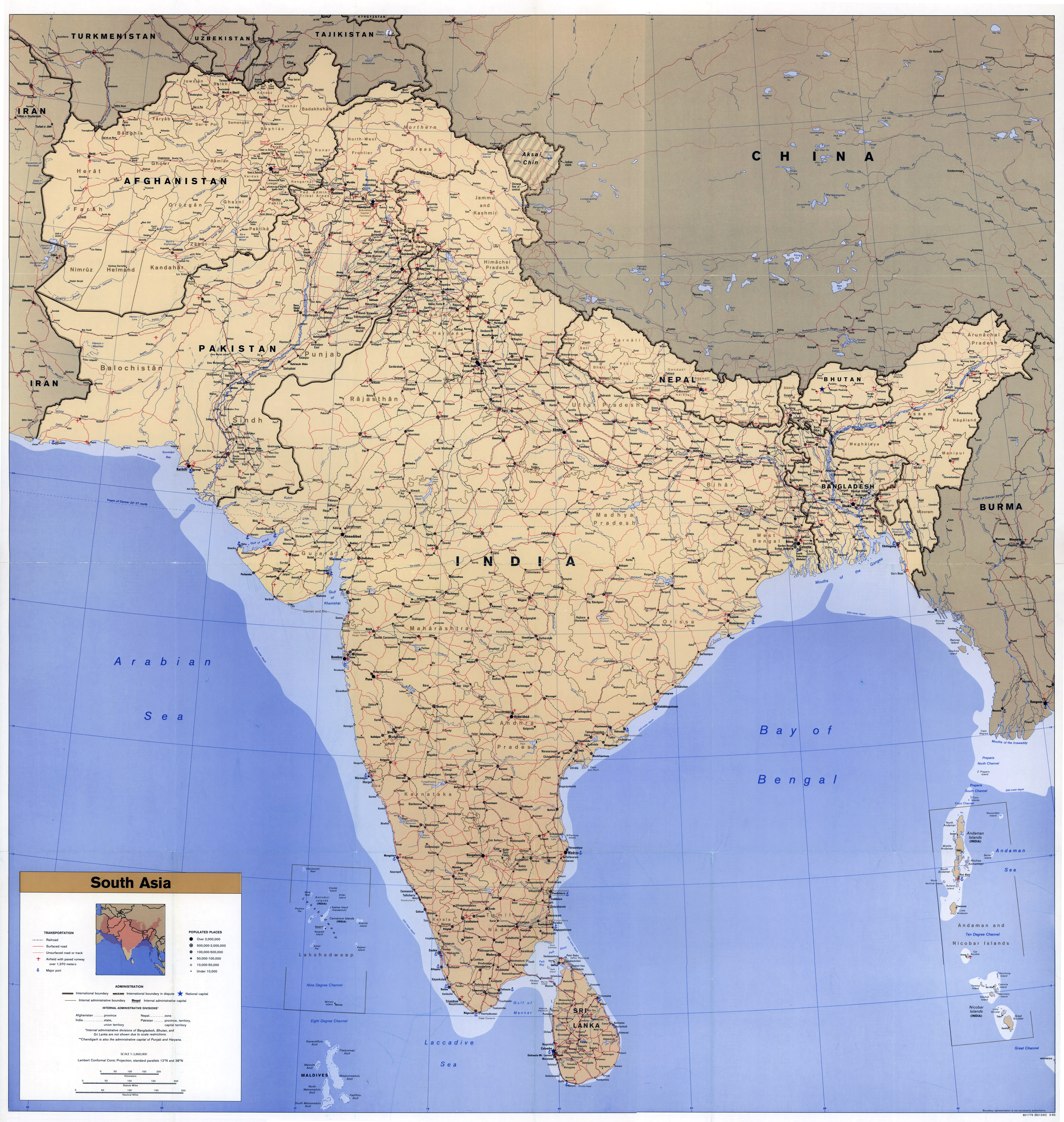 Large Scale Detailed Political Map Of South Asia With Roads, Railroads,  Cities, Airports