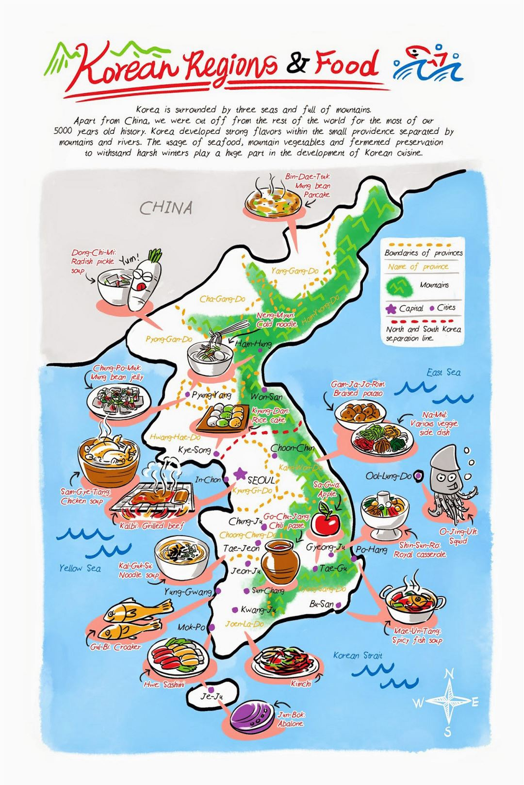 Detailed Korean Food Regions illustrated map
