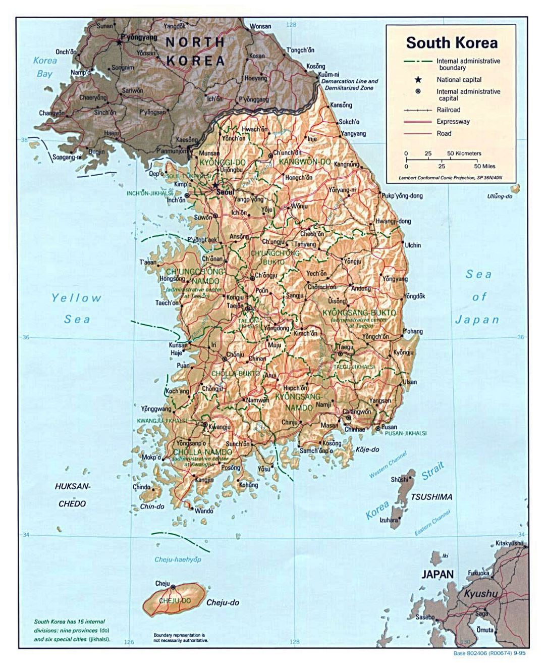Detailed political and administrative map of South Korea with relief, roads, railroads and major cities - 1995