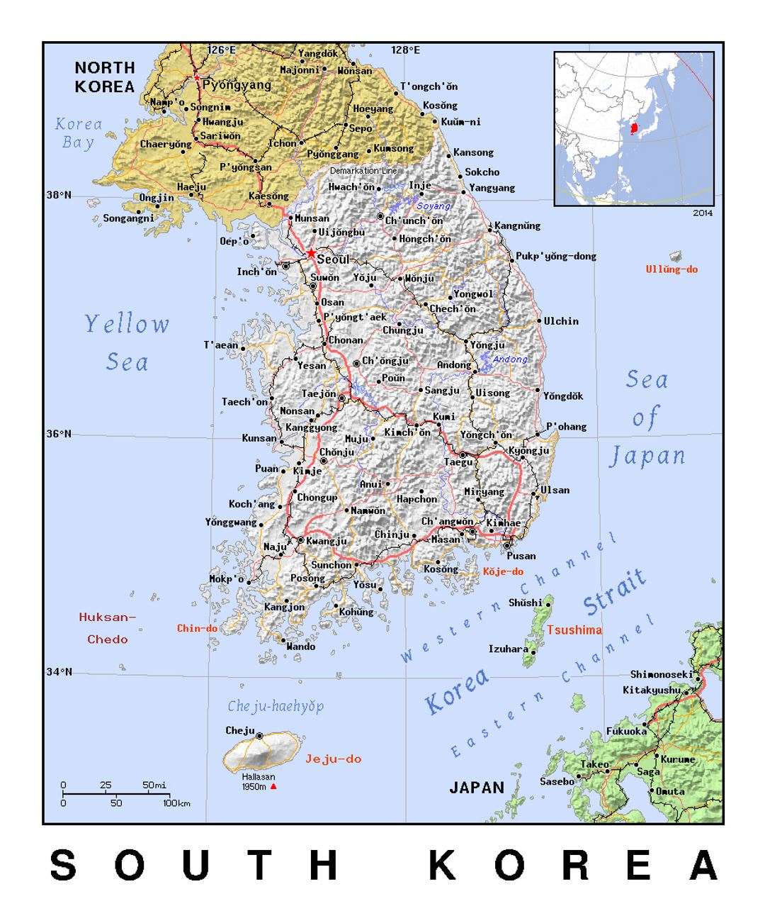 Detailed Political Map Of South Korea With Relief South Korea - Map of south korea