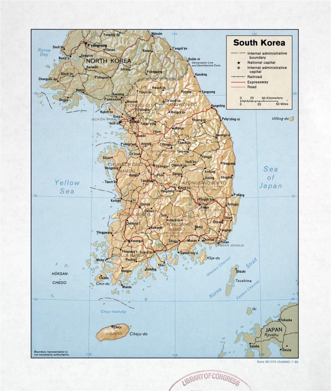 Large detailed political and administrative map of South Korea with relief, roads, railroads and major cities - 1989