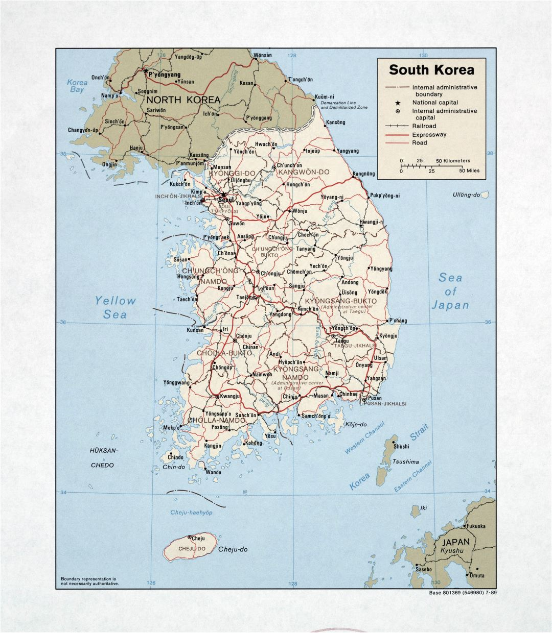 Large detailed political and administrative map of South Korea with roads, railroads and major cities - 1989
