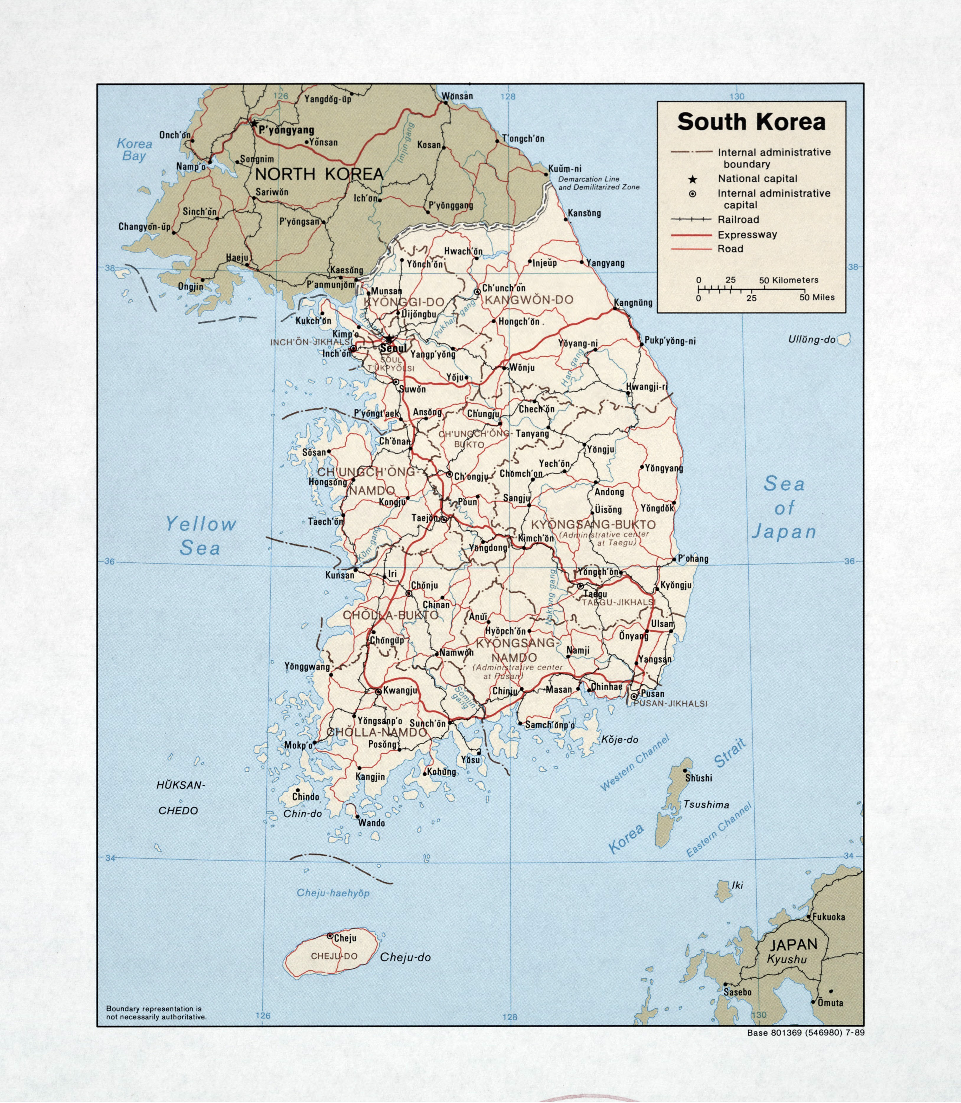 Large detailed political and administrative map of South Korea with