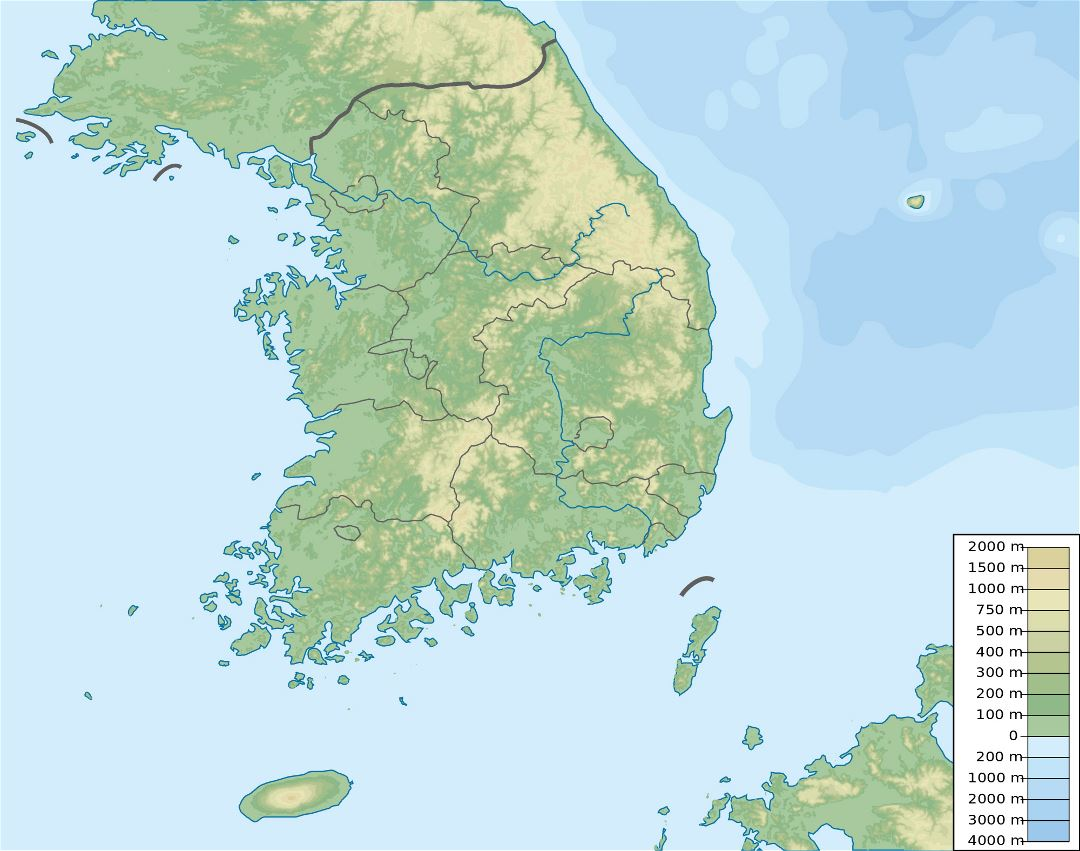 Large elevation map of South Korea
