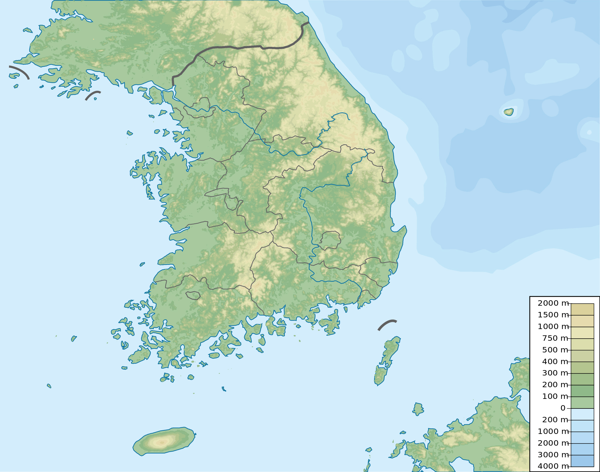 Large elevation map of South Korea South Korea Asia Mapsland