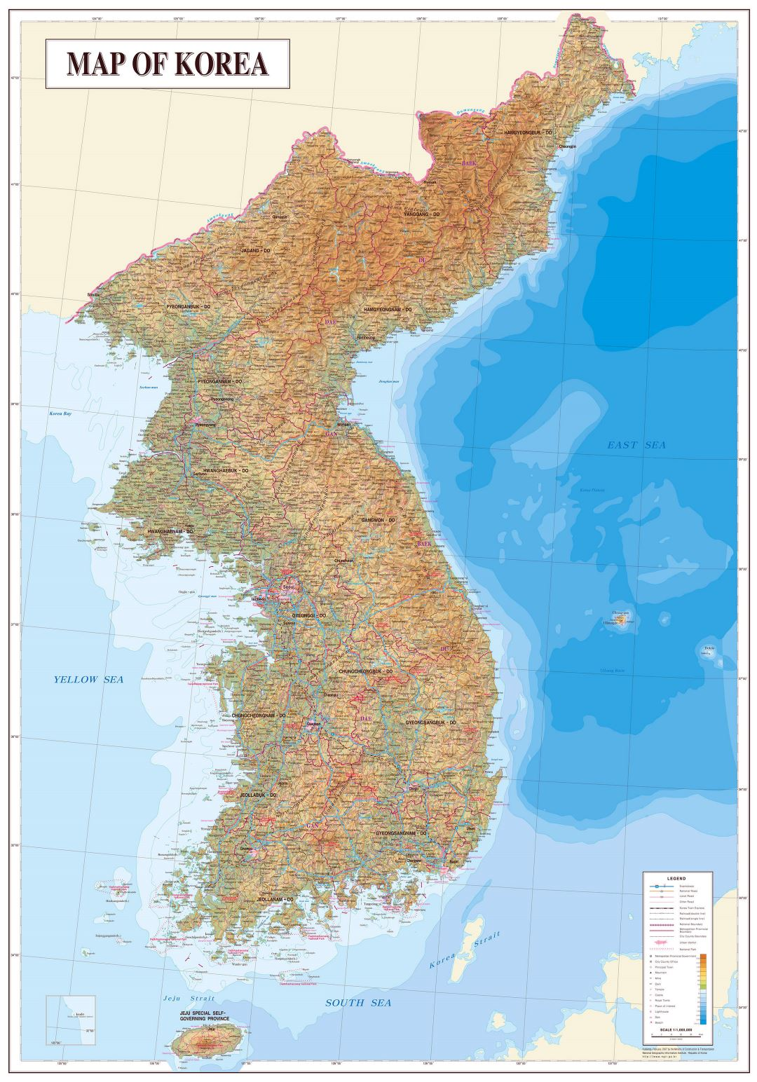 Large physical map of Korean Peninsula with all cities