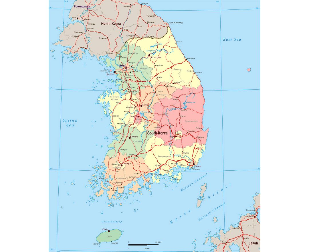 Maps of south korea detailed map of south korea in english large political and administrative map of south korea with roads and major cities gumiabroncs Images