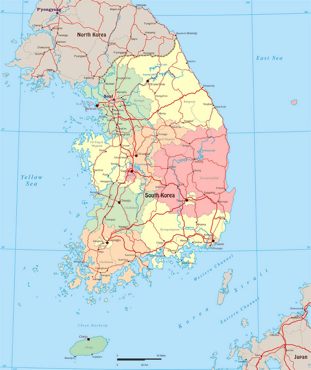 Large political and administrative map of South Korea with roads and major cities