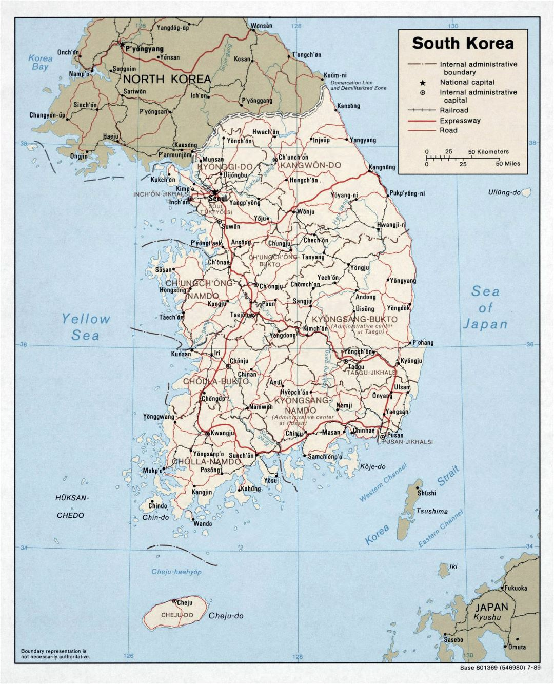 Large political and administrative map of South Korea with roads, railroads and major cities - 1989