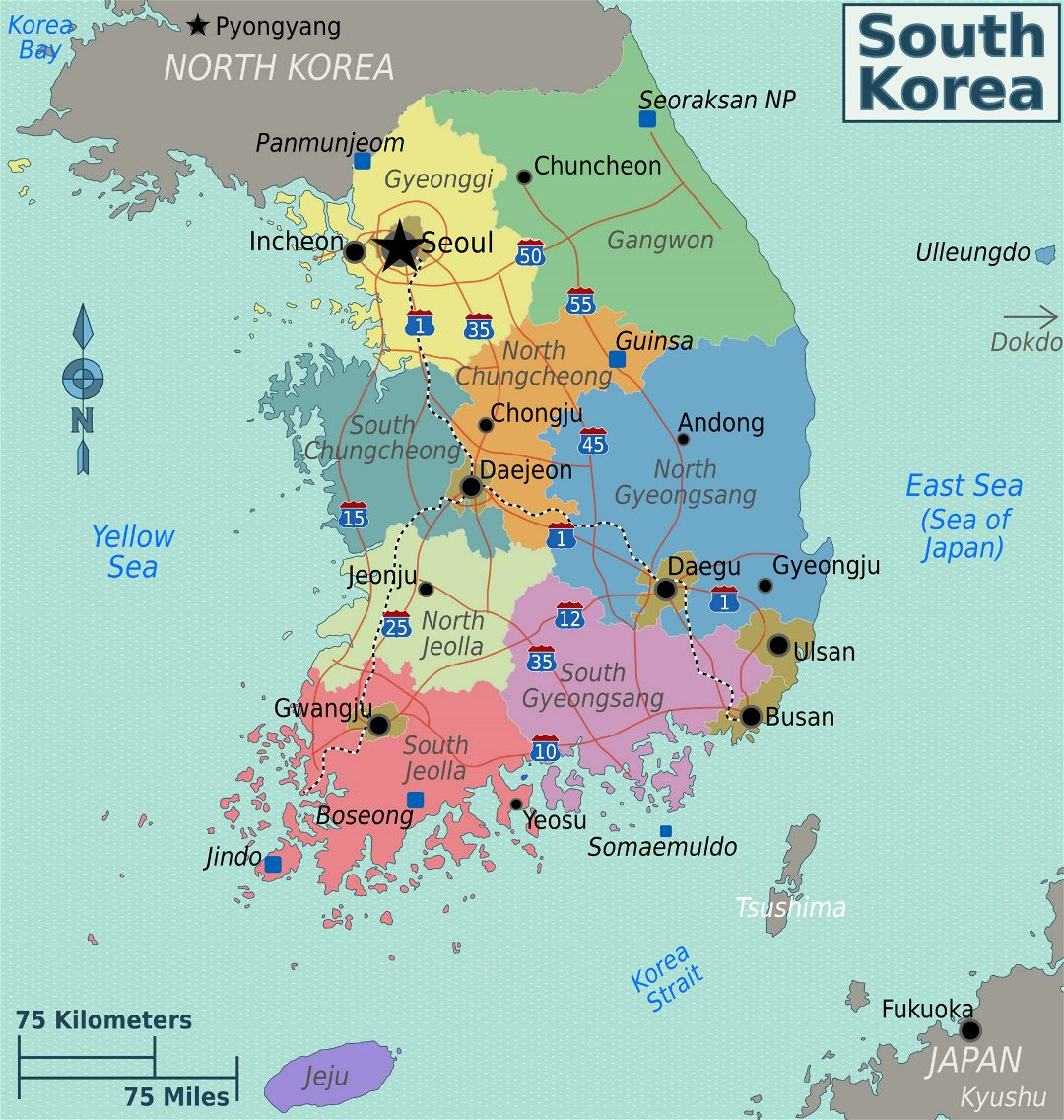 Large regions map of South Korea