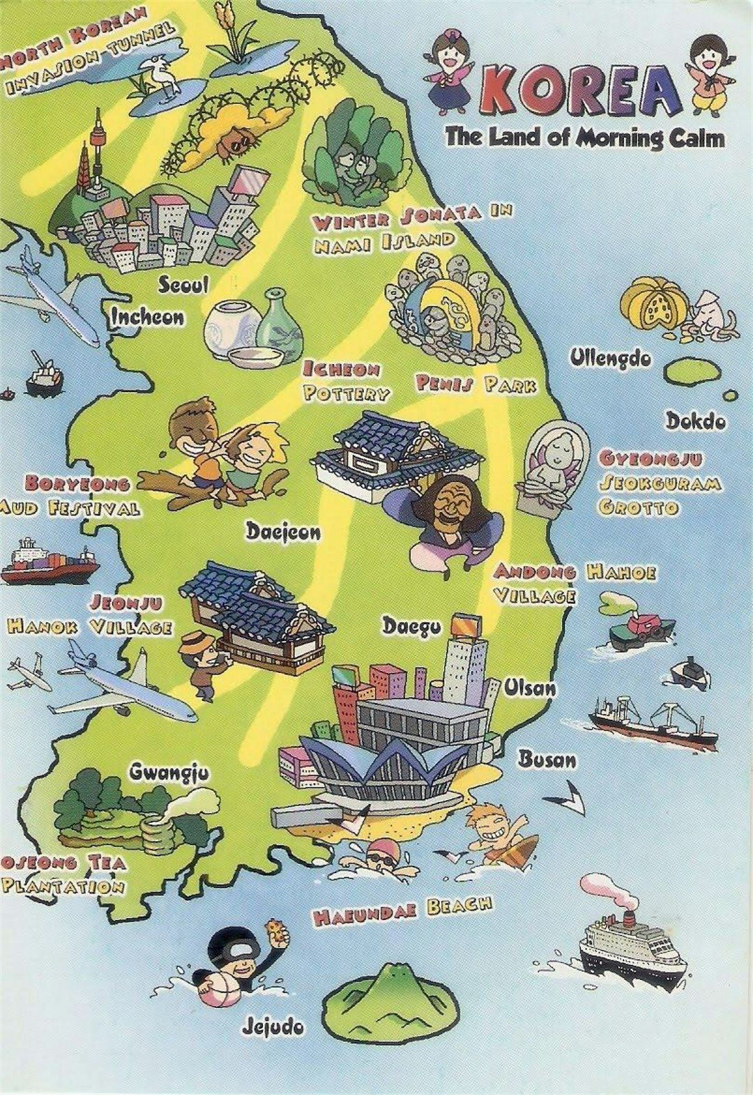 Tourist illustrated map of South Korea South Korea Asia Mapsland Maps