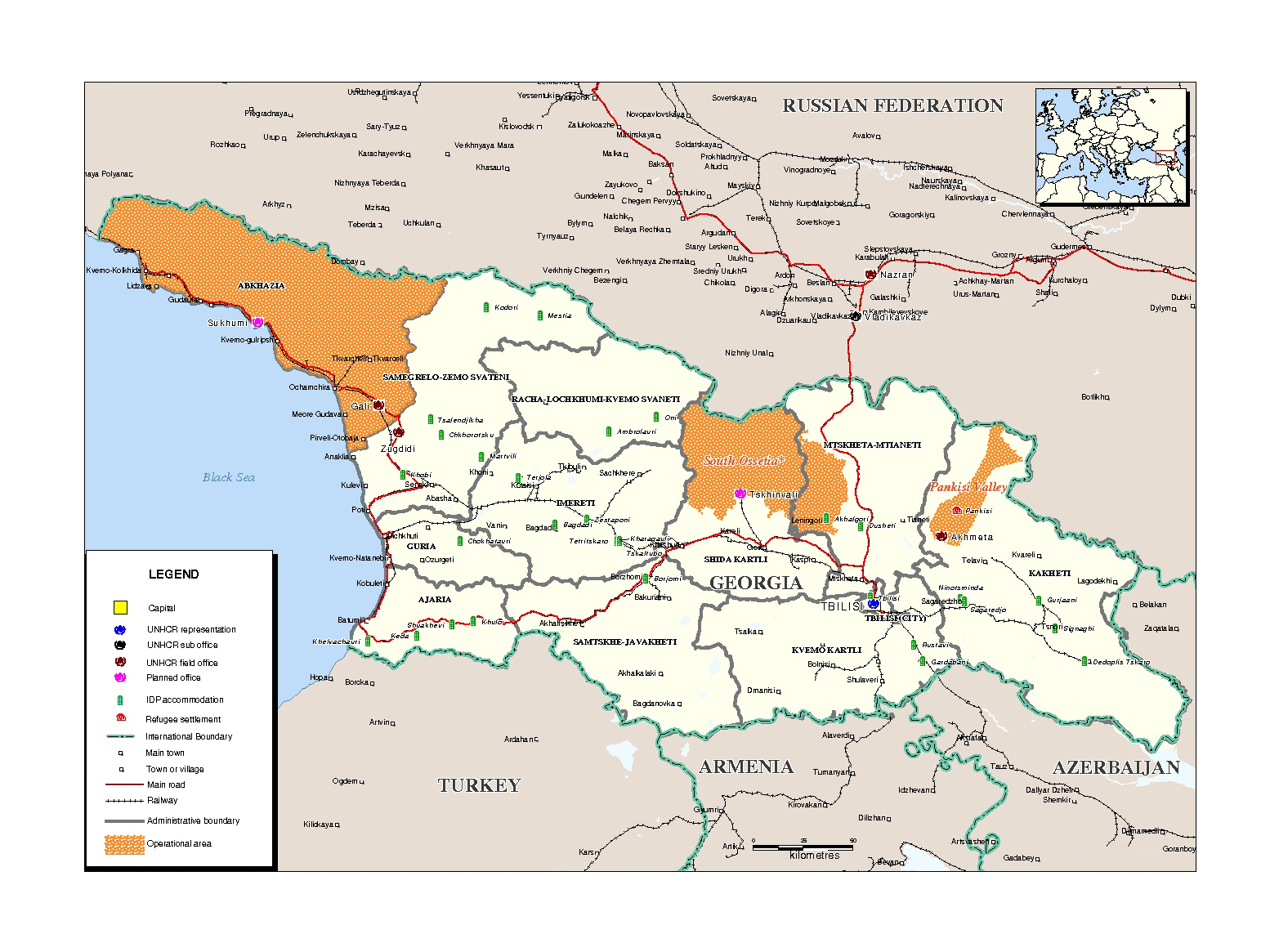 Detailed administrative map of Georgia with Abkhazia and South
