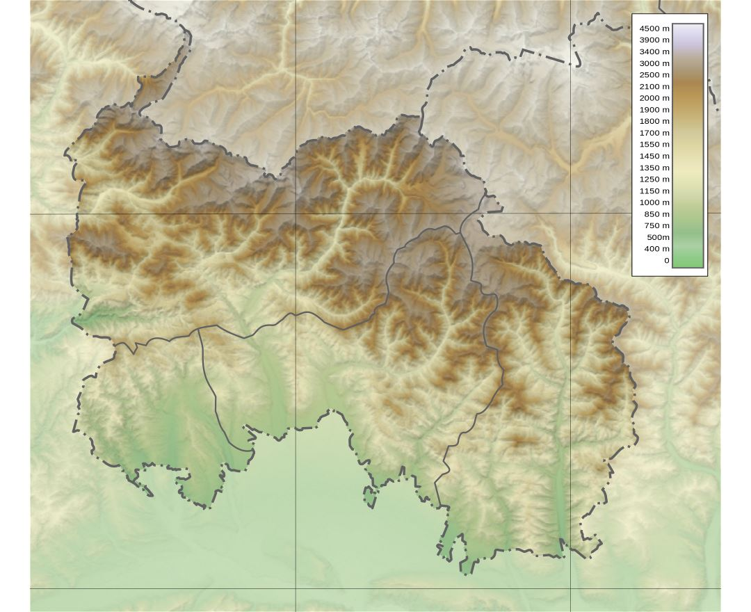 Large detailed physical map of South Ossetia