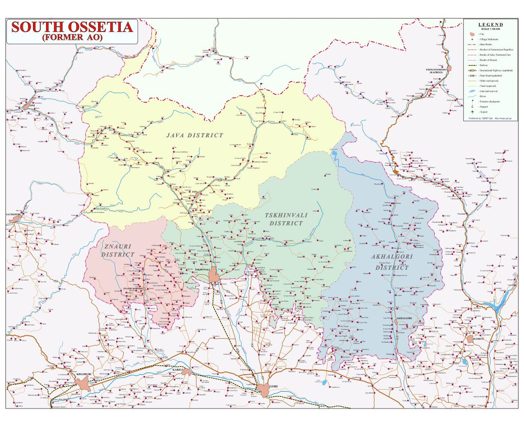 Large detailed political and administrative map of South Ossetia with roads, cities, all villages and other marks