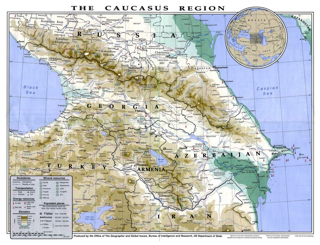 Large detailed political and physical map of Caucasus Region with other marks