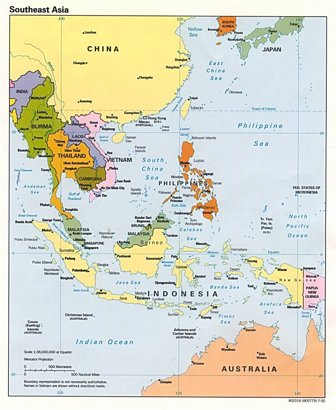 Detailed political map of Southeast Asia - 1992