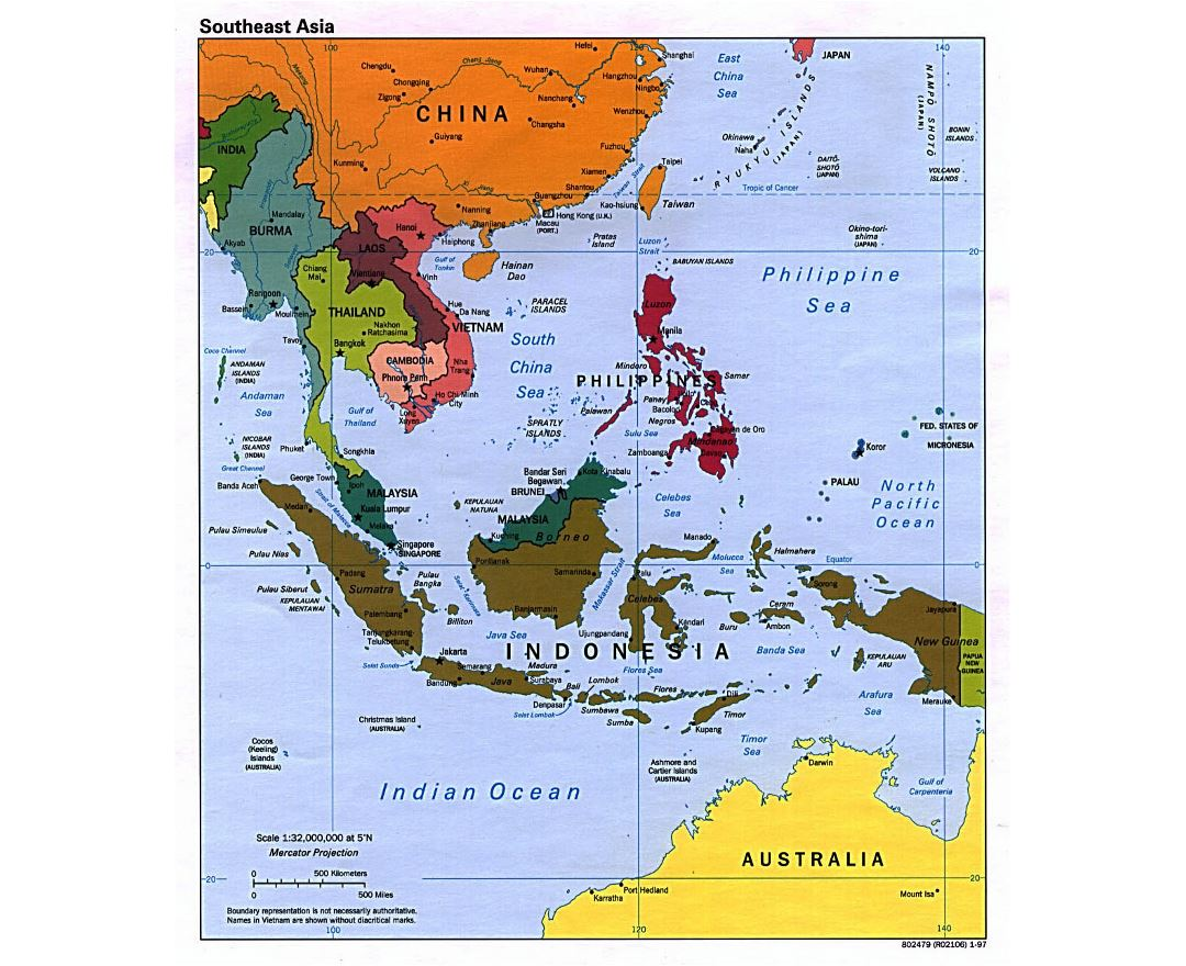 detailed political map of southeast asia with capitals 1997