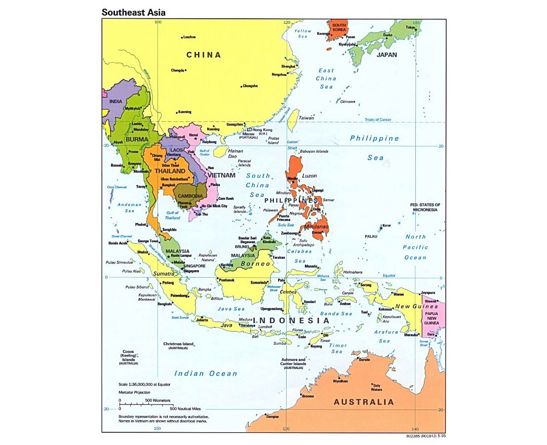Detailed political map of Southeast Asia with capitals and major cities - 1995