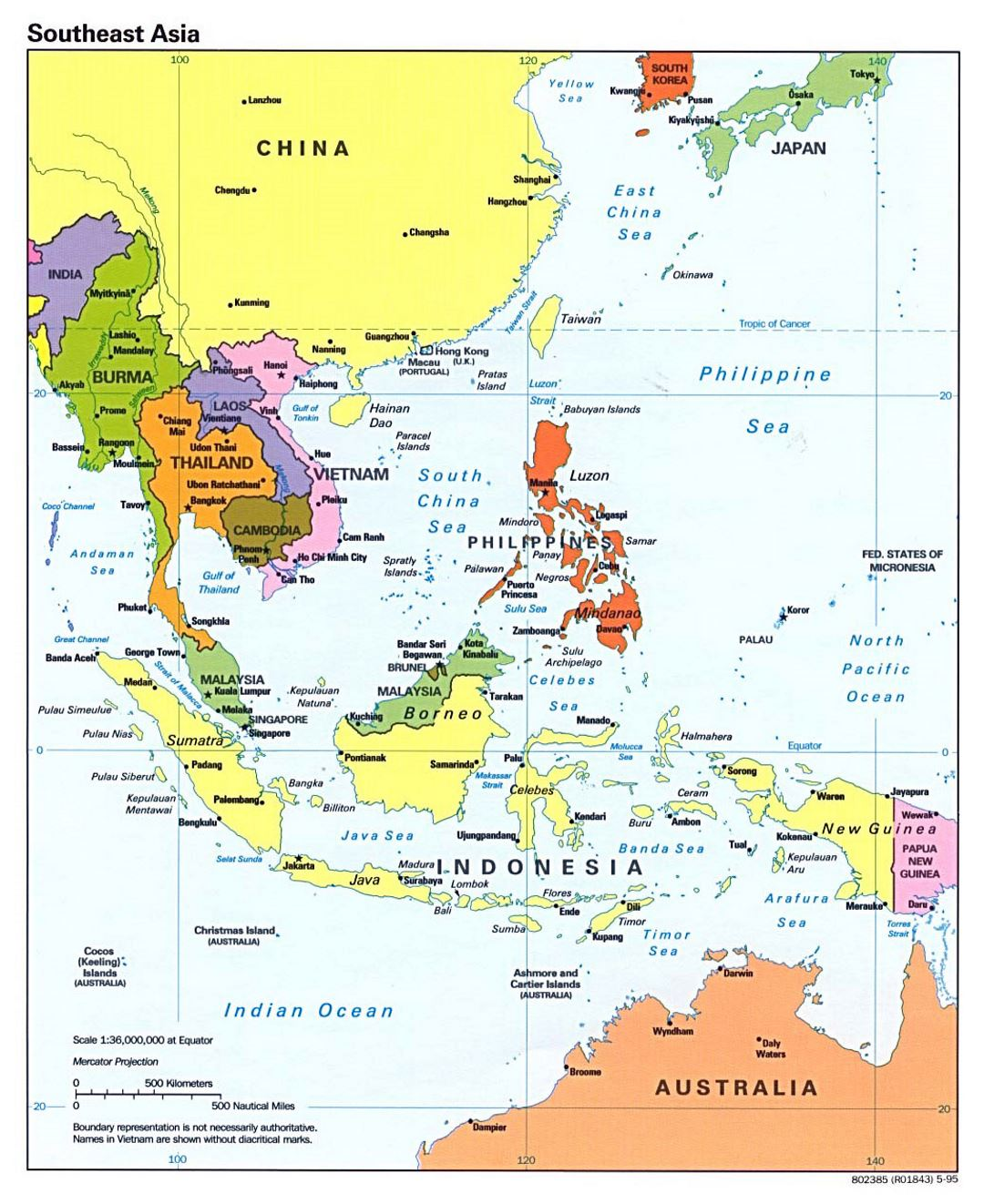 Detailed political map of Southeast Asia with capitals and major ...