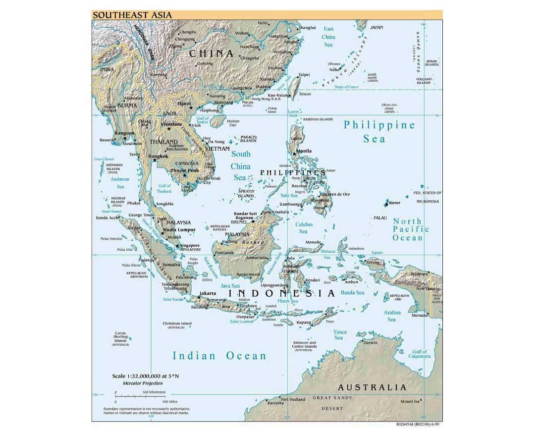 detailed political map of southeast asia with relief 1999