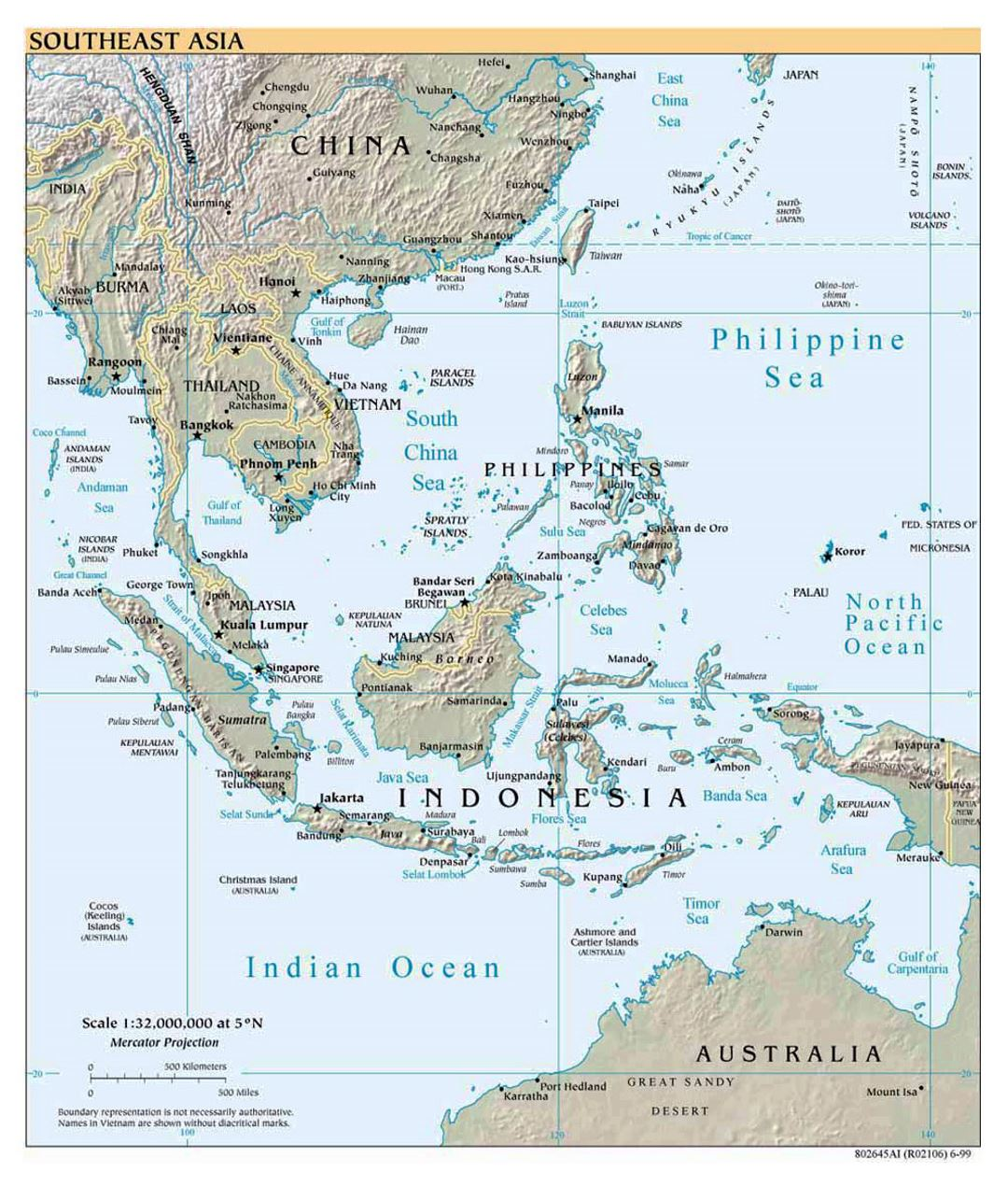 Detailed political map of Southeast Asia with relief - 1999