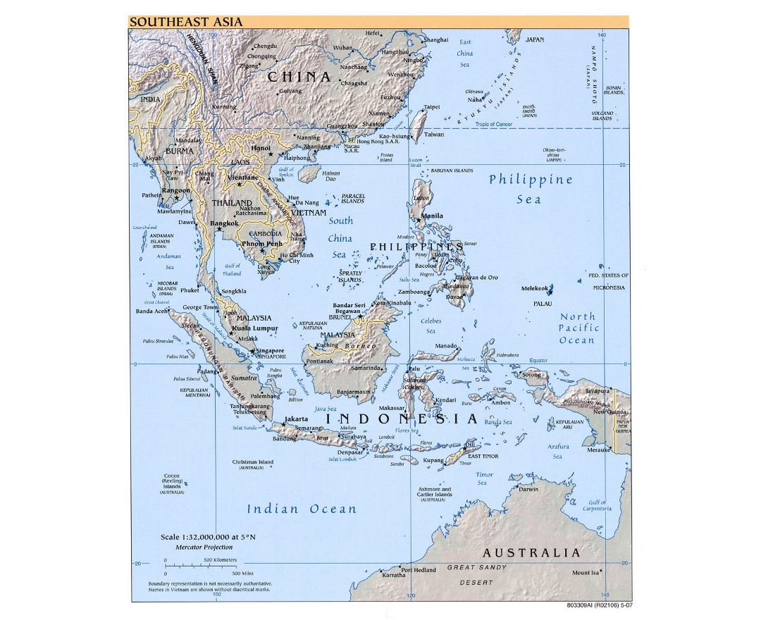 Detailed Political Map Of Southeast Asia With Relief   2007