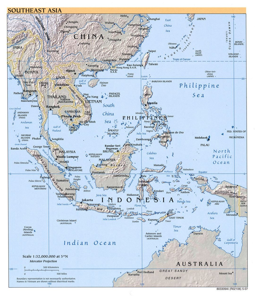 Detailed political map of Southeast Asia with relief - 2007