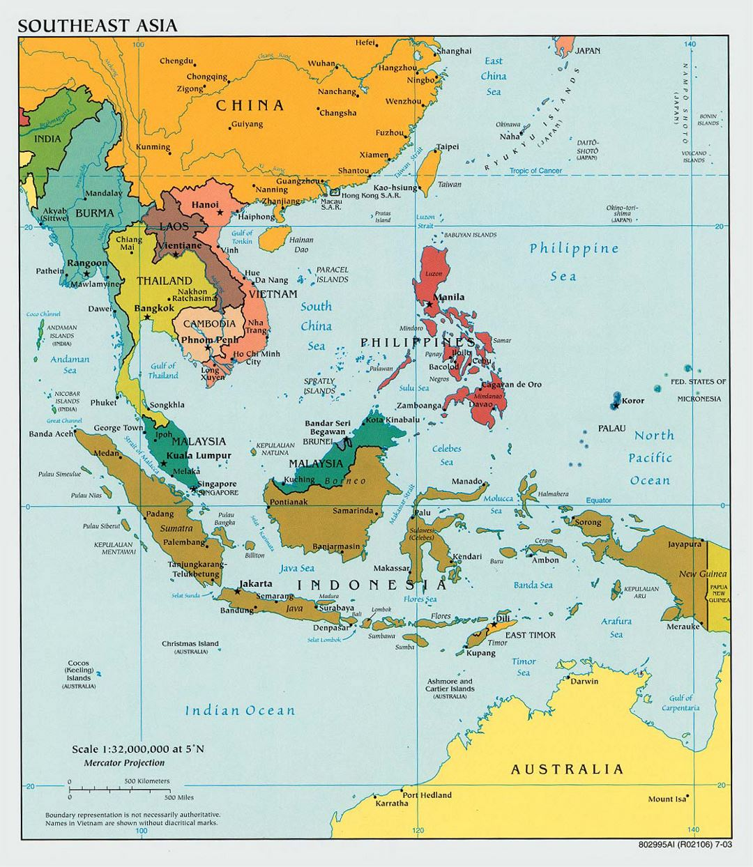 Large political map of Southeast Asia with capitals - 2003
