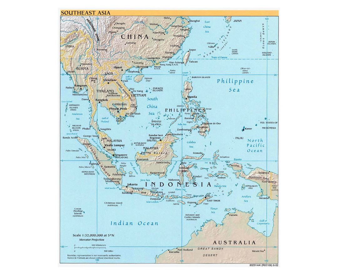 large political map of southeast asia with relief capitals and major cities 2002