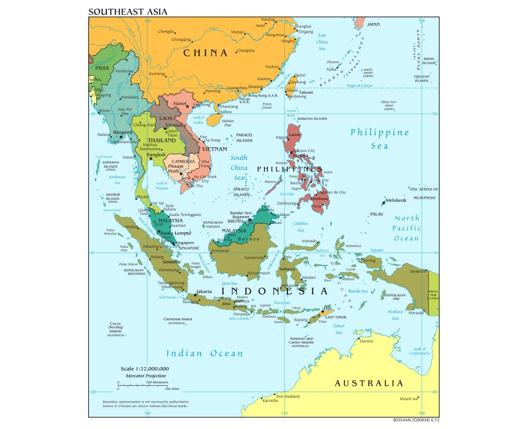 Large scale political map of Southeast Asia - 2012