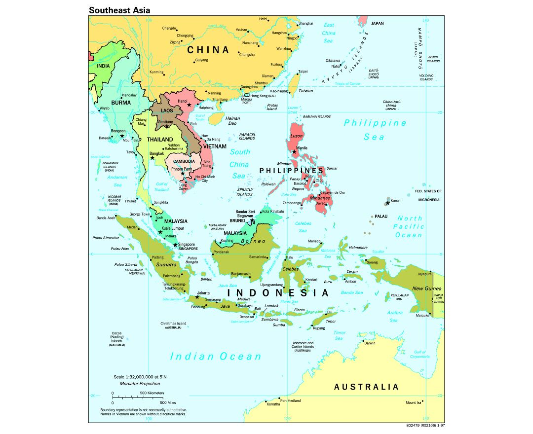 Large scale political map of Southeast Asia with capitals - 1997